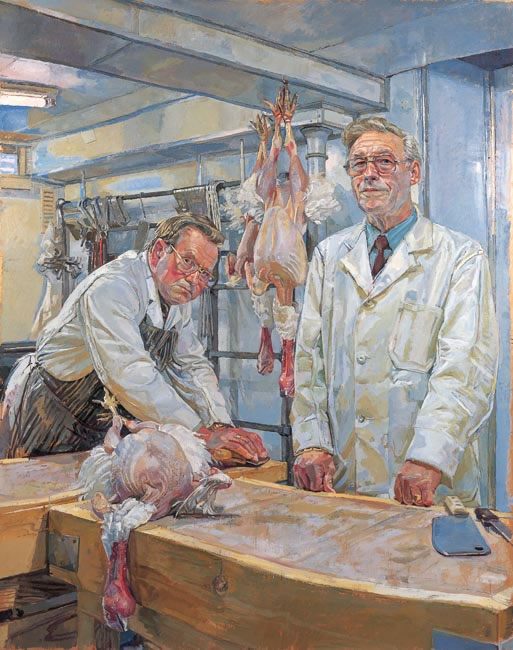 Ron and Ray Pett, Rotherfield Butchers 1989 - 127 x 101.6 cms