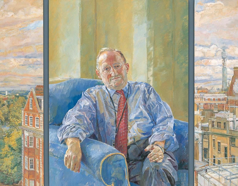 Lord Tugendhat at the Abbey National, 2001 - triptych - 106.7 x 132.1 cms