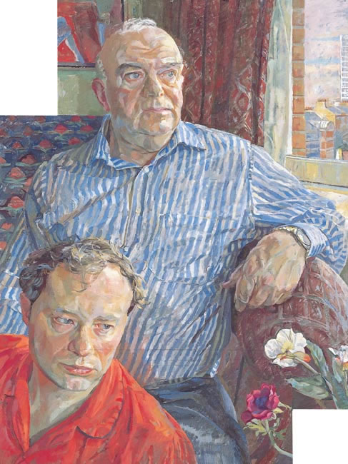 Andrew Wilton with Russell in Red Pyjamas, 2007 - 71.1 x 58.4 cms