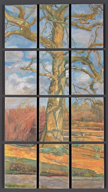 Through the Barn Window, oil on panel (51 x 56cm - 20 x 22 ins)